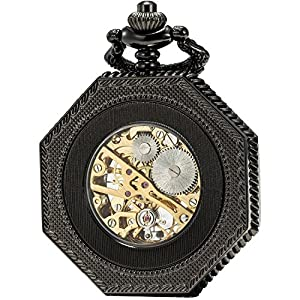 SEWOR Octagon Skeleton Pocket Watch with Chain, Halloween Style Steampunk Mechanical Hand Wind