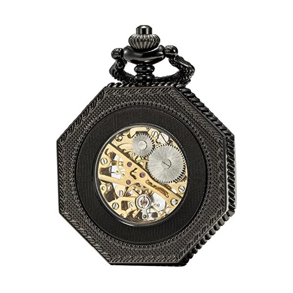 SEWOR Octagon Skeleton Pocket Watch with Chain, Halloween Style Steampunk Mechanical Hand Wind 4