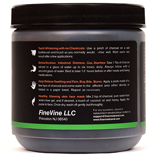 Activated Hardwood Charcoal Powder - Made in USA - Food Grade for Detox, Teeth whitening, Face Mask, Helps Digestion, Bug Bites, Treats Poisoning and Wounds. by FineVine (Image #1)