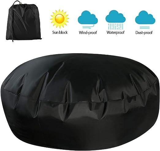 Funda redonda de ratán para muebles de jardín, funda de sofá de jardín, resistente al polvo, funda protectora con bolsa de almacenamiento para cama de día de ratán, tumbona, negro: Amazon.es: Hogar