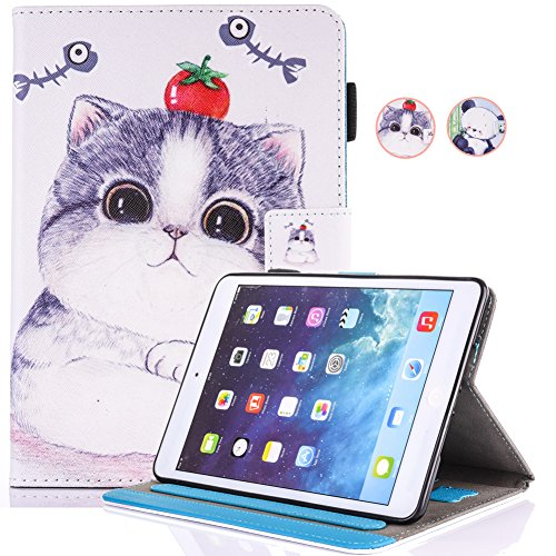 Price comparison product image New iPad 9.7 (2018 & 2017) / iPad Air / iPad Air 2 Universal Case,  PU Leather Lightweight Case Multiple Viewing Stand Smart Cover (Auto Wake / Sleep) for Apple iPad 9.7 2017 / 2018,  iPad Air 1 2,  Tomato Cat