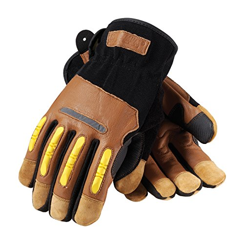 Maximum Safety 120-4200/L Journeyman Professional Workman Gloves with Reinforced Goatskin Leather Palm, Brown/Black/Yellow, ()
