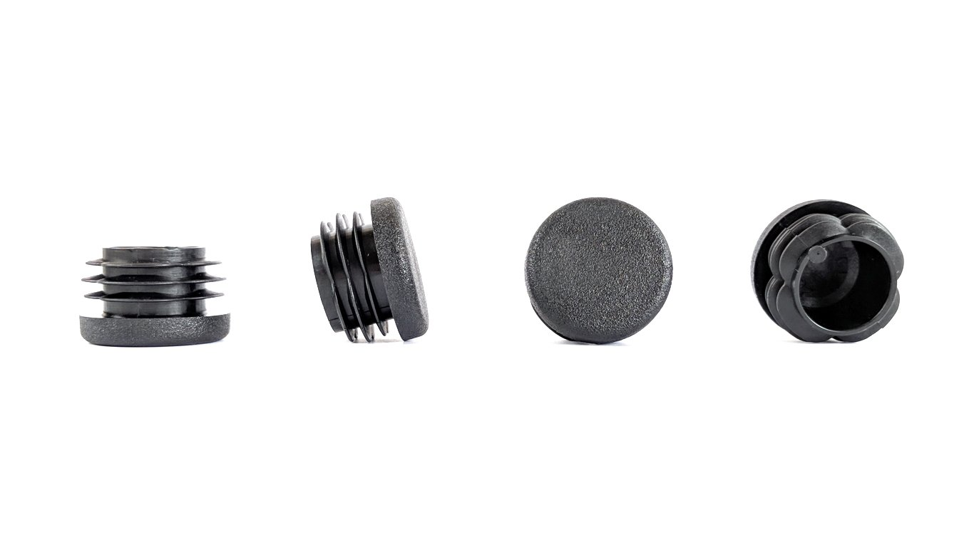 Bouchons ronds rainur/és en plastique noir 26/mm de diam/ètre Fabriqu/és en Allemagne