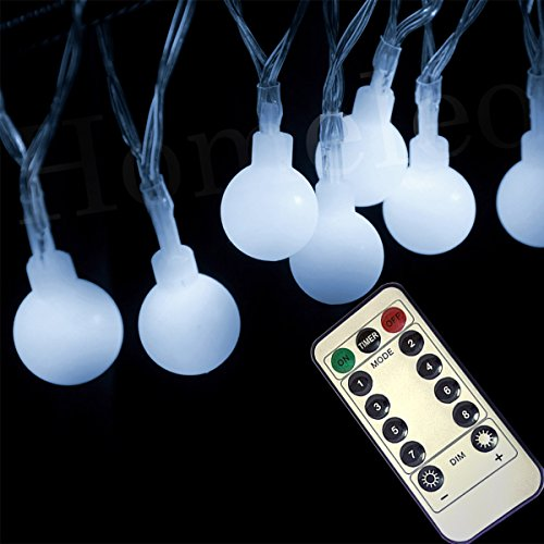 Homeleo 5M 50LED Cool White Wireless Remote Dimmable Globe String Lights, 8  Lighting Modes Battery Operated Ball Fairy Light