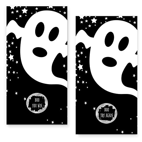 Halloween Scratch Off Game Cards 28 Pack (3 Winners) Ghost and Stars -