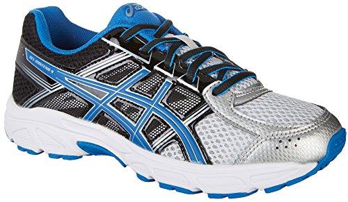 ASICS Boys' Gel-Contend 4 GS Running Shoe, Silver/Classic Blue/Black, 2 M US Big Kid