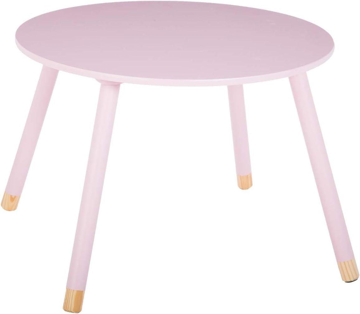 Mesa redonda de madera para niños - Color Rosa: Amazon.es: Hogar