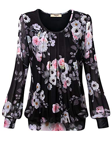 Timeson Womens Black Blouses and Tops for Work, Ladies Floral Tunic Shirt Bubble Hem Plus Size Top Formal Shirts Women's Dressy Blouses Pleated Front Loose Fit Wear Office Business Casual Shirt Large