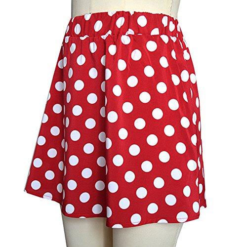 Women's Basic Versatile Stretchy Flared Casual Mini Skater Skirt Soft Polka Dot Printed Street Skirt Summer Skirt(Red, M) by Threecows (Image #2)