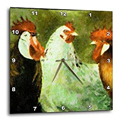 3dRose DPP_22182_1 Just Us Roosters Wall Clock, 10 by 10
