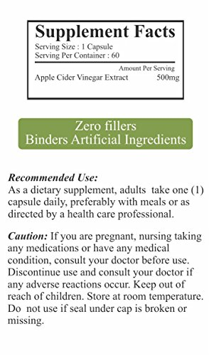 Biosys Pure Natural Apple Cider Vinegar Capsules For Weight Loss & Detox 500Mg
