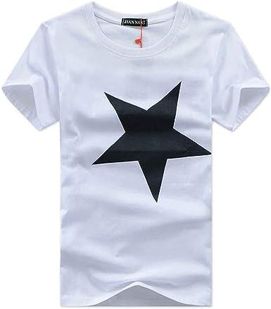 Camiseta De Manga Corta Hombre Personalidad con Estampado De Estrella Blusa Casual Suave Tees Tops De Moda De Cuello Redondo Remera Aire Libre De Verano: Amazon.es: Ropa y accesorios