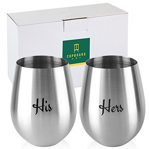 His and Hers: Set of 2 Stemless Stainless Steel Large Premium Quality Unbreakable and Shatterproof 18 oz Wine Glasses by Cupboard Art
