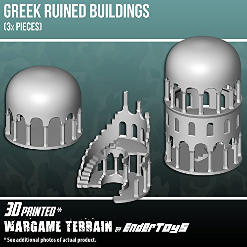 EnderToys Greek Ruined Buildings Bundle, Terrain Scenery for Tabletop 28mm Miniatures Wargame, 3D Printed and Paintable