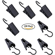 100 Pack Stainless Steel Curtain Clip String Party Lights Hanger Wire Holder for Home Decoration, Photos, Art Craft Display and Outdoor Activities Supplies (Black)