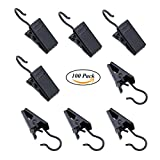 Coideal 100 Pack Stainless Steel Curtain Clip String Party Lights Hanger Wire Holder for Home Decoration, Photos, Art Craft Display and Outdoor Activities Supplies (Black)
