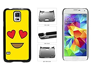 Bright Yellow Heart Eyes Smiley Face if Plastic Phone Case Back Cover Samsung Galaxy S5 I9600 SALE scanner it burner
