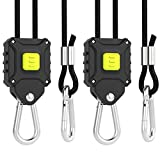 VIVOSUN 1-Pair 1 8 inch Rope Hanger w  Improved Design More Convenience - Press Button Easy Adjust Reinforced Metal Internal Gears 8-ft Long and 150lbs Weight Capacity ( Exclusively Patented )