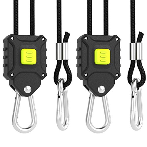 VIVOSUN 1-Pair 1/8 inch Rope Hanger w/ Improved Design, More Convenience - Press Button Easy Adjust, Reinforced Metal Internal Gears, 8-ft Long & 150lbs Weight Capacity ( Exclusively Patented (Pair Buttons)