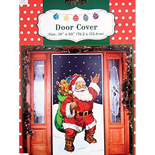 Santa with Gifts Door Cover Holiday Decoration Plastic 30x60 inches  sc 1 st  Amazon.com & Christmas Door Cover Decorations: Amazon.com