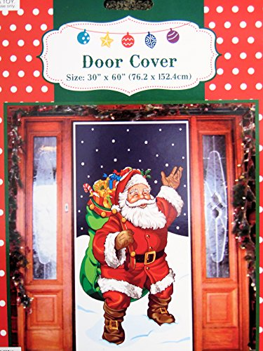 Santa With Gifts Door Cover Holiday Decoration Plastic 30x60 Inches Home Garden Seasonal Decorations