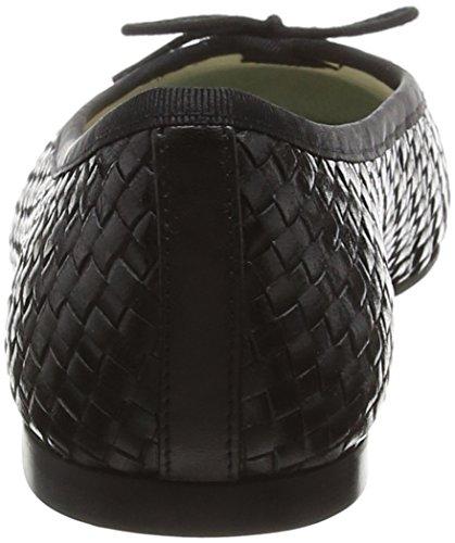 French black Sole Donna Woven Nero nero Leather Henrietta Ballerine