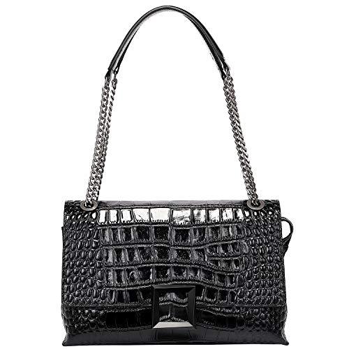 PIJUSHI Women Shoulder Bag Crossbody Bags Designer Crocodile Chain Purses (27002, Black Croco)