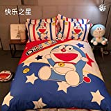 CASA 100% Cotton Kids Bedding Set Boys Doraemon Duvet cover and Pillow cases and Flat sheet,4 Pieces,King