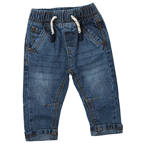 - Baby Town Baby Boys 100% Cotton Demin Jeans with Pockets and Elasticated Waistband Dark 18-24 Months