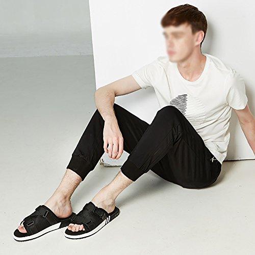 open in Sandalo uomo con spiaggia scarpetta 39 Sandalo pelle 47 dimensioni toe morbido in antiscivolo nero da design 46 taglia da con tessuto xqYxPwpz