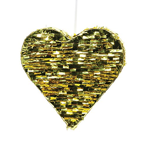Andaz Press Gold Foil Fringe Piñata, 18-inch, Heart, 1-Pack, Wedding 25th 50th Anniversary Graduation New Years Eve 2018 2019 2020 Hanging -