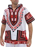 Full Funk Dashiki Light Hoody In White Base Colors Festival Party Shirt Short Sleeve, Large, White - Red