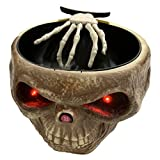 NOVMAY Halloween Candy Bowl with Animated Hand Electric LED Eyes Trick Props Sweets Nut Bowl Trick or Treat Skull Ghost Party Decoration (Beige)