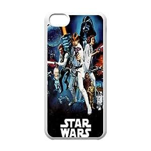 Cute TPU Case Star Wars Darth Vader Luke Skywalker Han Solo Leia Chewbacca Colorful Sci Fi Poster Blockbuster iPhone 5c Cell Phone Case White