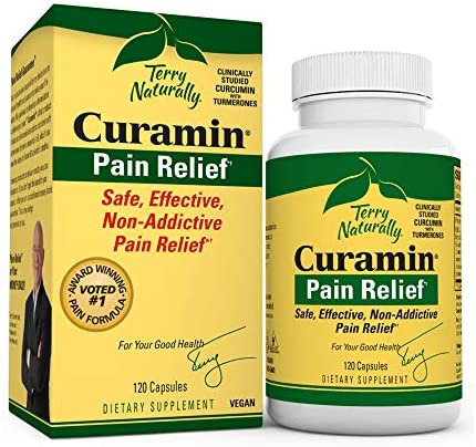 Terry Naturally Curamin 2 Pack – 120 Vegan Capsules – Non-Addictive Pain Relief Supplement with Curcumin from Turmeric, Boswellia DLPA – Non-GMO, Gluten-Free – 80 Total Servings