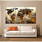 "LARGE 30""x 60"" 3 Panels 30""x20"" Ea Art Canvas Print World Map Abstract background Texture Metal Wall Decor Home Office (Included framed 1.5"" depth)"