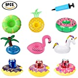 Inflatable Drink Holder Flamingo Floating Coasters Swan Swimming Pool Beach Party Cup Glass Holder 【9pcs】 with Air pump