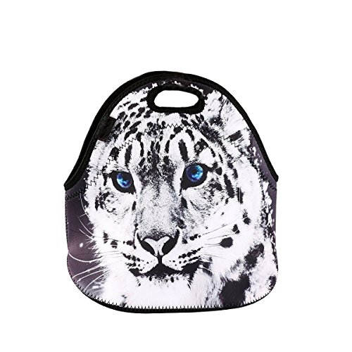 Damask Neoprene Student Lunchbox Bag Waterproof Handbag Outdoor Picnic Bag Cute Lunch Tote for Women Kids Girls Boys Tiger
