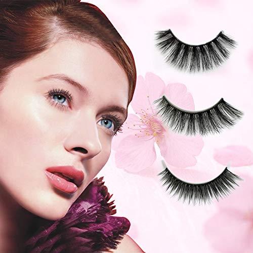 3D Mink Fur False Eyelashes 100% Siberian Mink Lash Fake Eyelash Handmade False Eyelashes for Natural, Longer Thicker Lashes 5 Pairs/Box