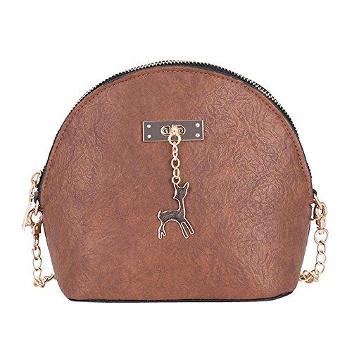Clearance Sale! ZOMUSAR Women Fashion PU Leather Zipper Small Deer Splice Handbag Shoulder Shell Bag Shiny Crossbody Tote Bag (Brown ) ()