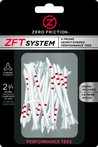 Zero Friction T System Composite 3-Prong Golf Tees (2-3/4 Inch, White with Red Stripe, Pack of 30) ()