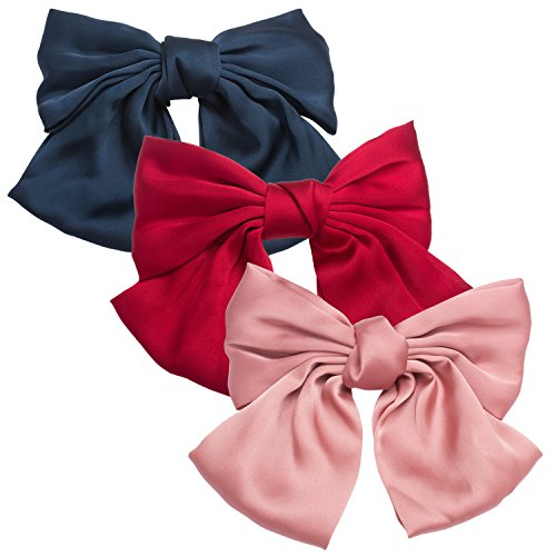 Aprince Hair Bows for Women Big Red Hair Bows Decorative Hair Clip Fancy Hair Clips Hair Barrettes for Women Hair Ties Barrettes Silk Hair Bow Satin and Spring Clip(Pink,Red and Black)
