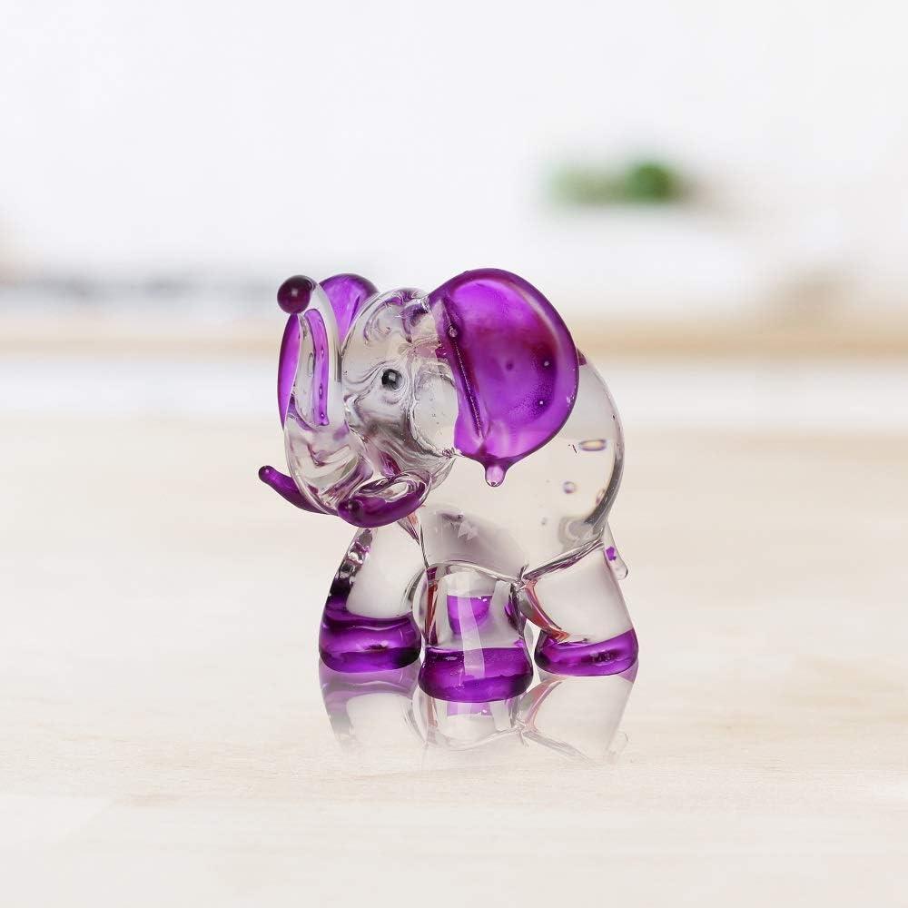 by Audomna Shop. Hand Blown Art Glass,Purple Elephant Miniature Animals Collection Dollhouse Miniatures