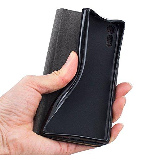 Funda Sony Xperia XR Flip, Forhouse Prima Durbale Flip PU Cuero Billetera Carcasa Caso con [Función de Soporte] [Ranuras para Tarjetas] [Protectora Caja del Teléfono] Anti-Choques Anti-Gota Delgado Fi Gris Oscuro