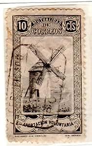 Postage Stamps Spain. One Single 10c Black & Gray Spain Beneficency (Windmill) Stamp, Mutualidad de Correos, Aportacion Voluntaria. Unlisted