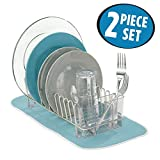 mDesign Kitchen Accessory Set, Compact Dish Drainer, Mini Dish Drying Mat - Set of 2, Satin/Aqua Blue
