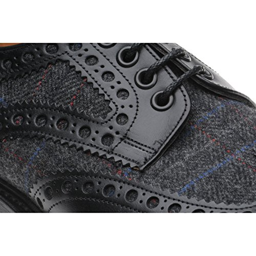Herring Herring Dartmoor - Zapatos de cordones para hombre multicolor Black Calf and Charcoal Tweed