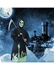 Brwoynn Halloween Kids Costumes, Grim Reaper Costume, Cosplay Black Robe with Glow Pattern, Soul Taker Child Costume, Halloween Weapon Included