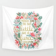 Shukqueen Tapestry, White Beautiful Garland With Words Wall Hanging Tapestry Dorm Decor (51 H x 60 W, Floral-1)
