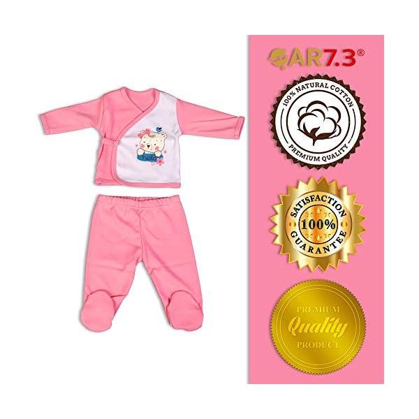QAR7.3 Completo Vestiti Neonato 0-3 mesi - Set Regalo, Corredino da 5 Pezzi: Body, Pigiama, Bavaglino e Cuffietta (Rosa… 6